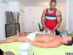 Well-disposed massage leads to massaging his cock hidden unbefitting an obstacle towel