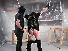 Hither his legs confined and his pants down, he gets his pest spanked hard