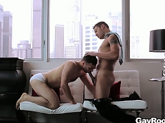 Handsome blissful couple fucks hard in their high-born penthouse friends