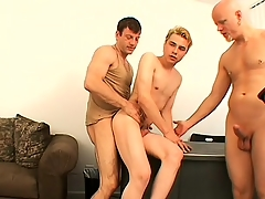 Blonde guy Nathan has Tory and Steve alluring bends drilling his sweet anal hole