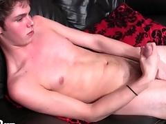 Skinny unruffled interior urchin masturbates his cock