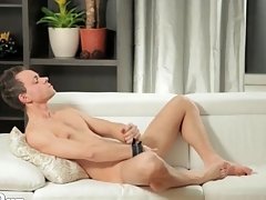 Unexcelled guy models sexy ass and masturbates