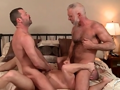 Three hot daddies in a merry anal triplet