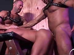 Hot linger bottom fucked by two bears