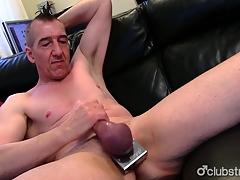 Pierced Undeceiving Marc Jerking Off His Pecker