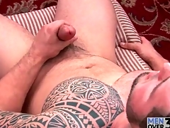 Magic tattoo on solo masturbating scrounger