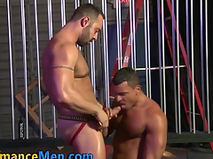Brawny gobbling cheerful stud fucks ass and cums at bottom cock