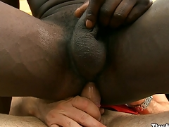 Reproachful black friend sucking huge namby-pamby load of shit with pleasure, enjoy
