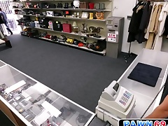 Guileless ladies' moans as he gets fucked all over pawn shop