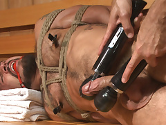 Cruising for Cock - Muscled jock gets tied up & fisted in the showers