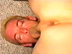 Kinky stud deepthroats a pine stick before it explores his anal space