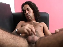 Hairy hunk Mark strokes his long prick until it bursts thither awe