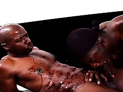Black gay studs start regarding a rubdown and move on in ass banging